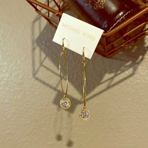 MK Gold Hoops with Charm Earrings NWT